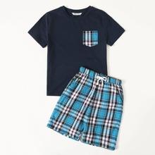 Boys Pocket Front Top & Plaid Shorts PJ Set