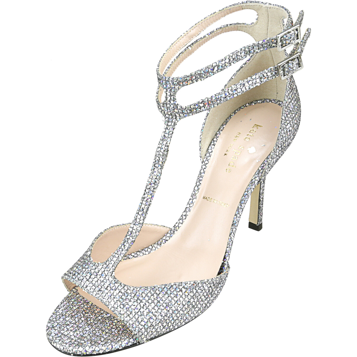 Kate Spade Women's Ines Silver Iridescent Starlight Ankle-High Leather Heel - 7M