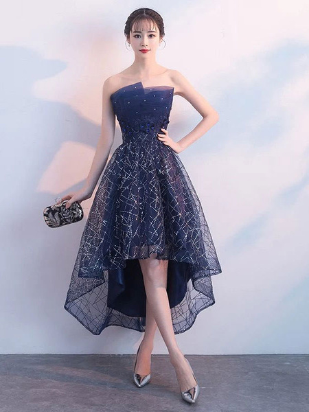 Milanoo Short Prom Dresses Strapless Sequin Dark Navy High Low Cocktail Party Dress