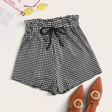 Metallische Shorts mit Kordelzug und Papiertasche Taille