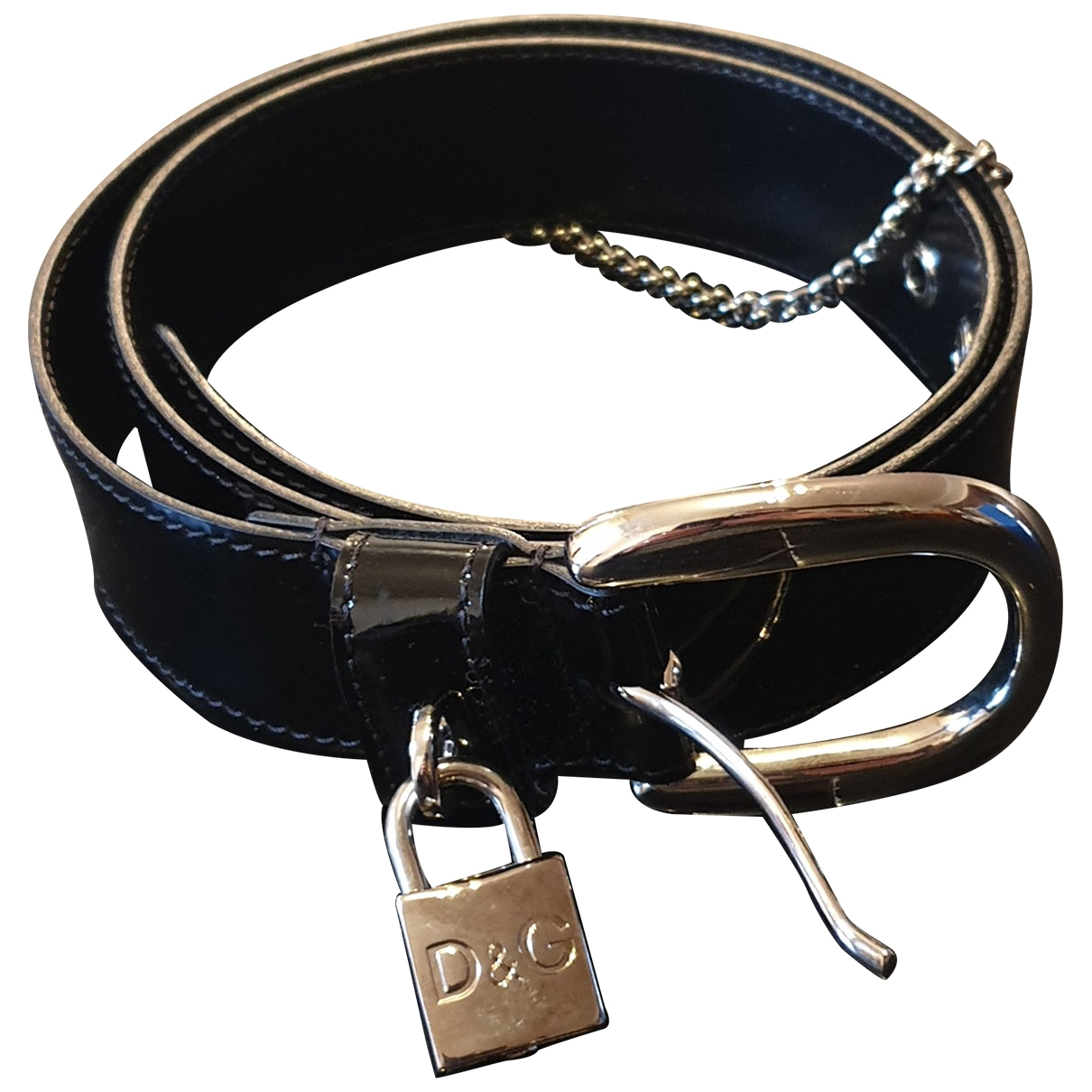 D&g \N Black Leather belt for Women 90 cm