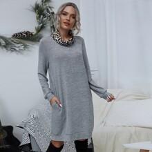 Langes Sweatshirt Kleid mit Leopard Muster und Trichterhals