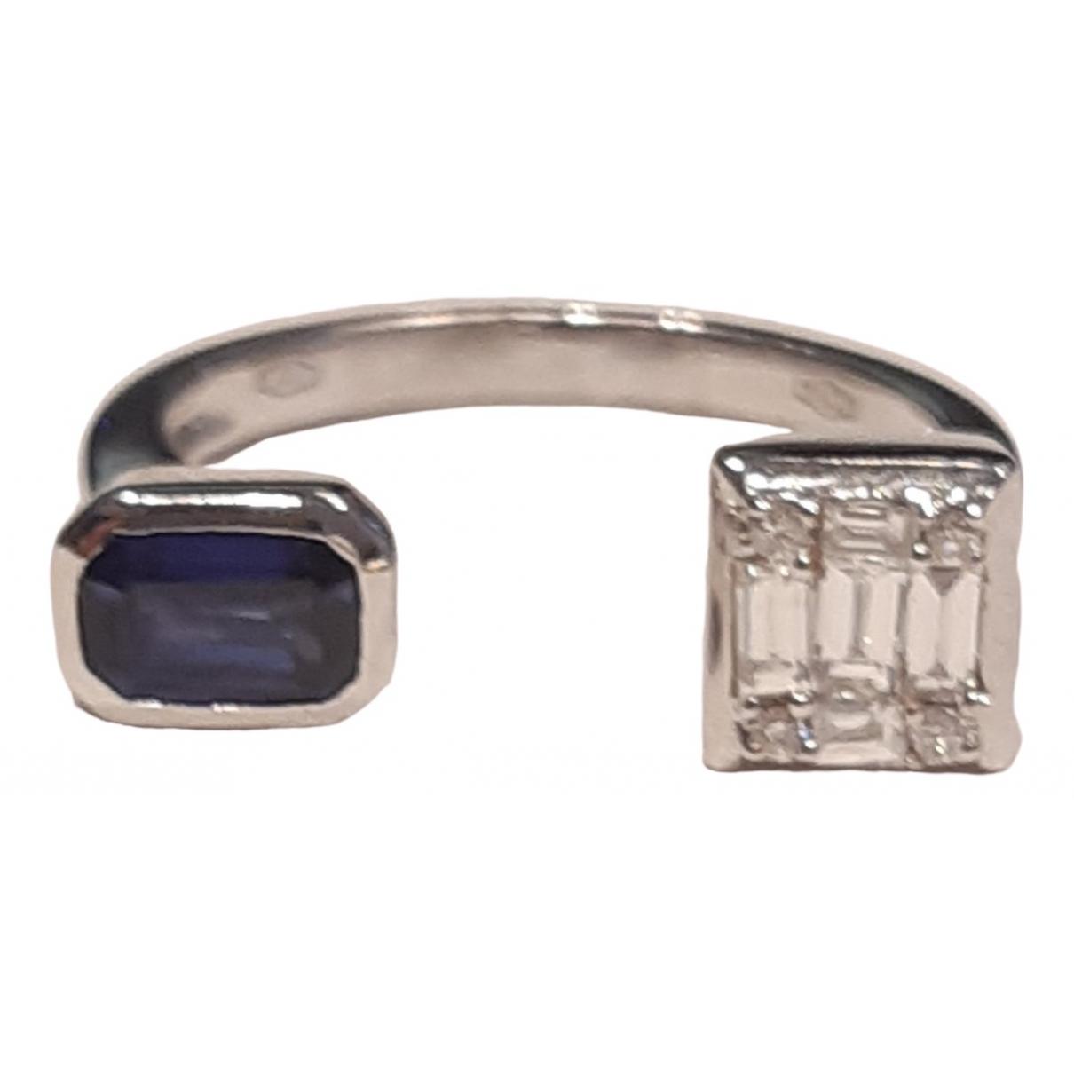 - Bague Art Deco pour femme en or blanc - bleu
