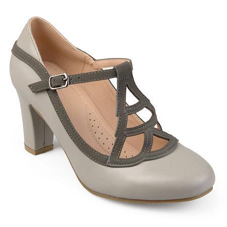 Journee Collection Womens Nile Pumps Block Heel, 6 Medium, Gray