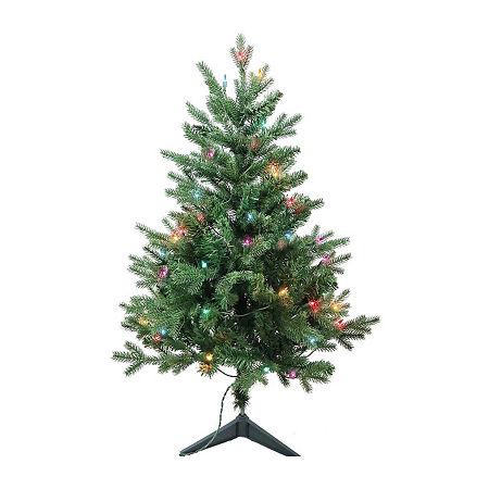 Kurt Adler 3 Foot Pine Pre-Lit Christmas Tree, One Size , Green