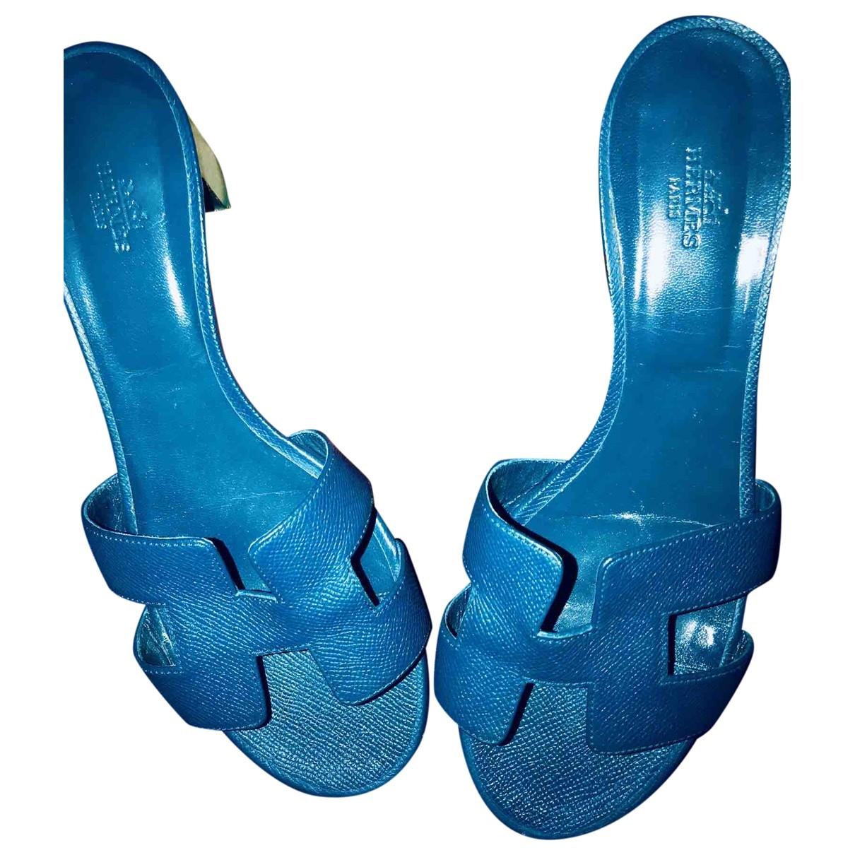 Hermes Oasis Sandalen in  Blau Leder