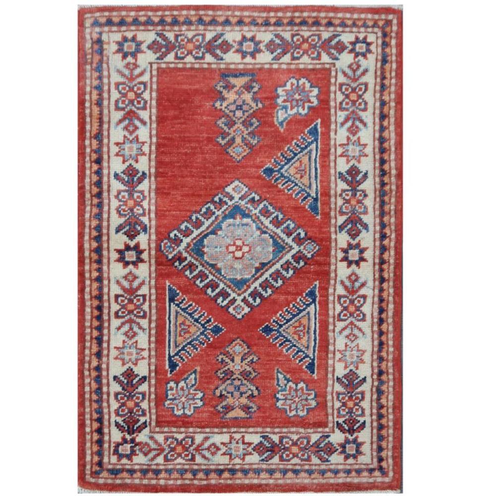 Handmade One-of-a-Kind Super Kazak Wool Rug (Afghanistan) - 1'11 x 2'11 (1'11 x 2'11)