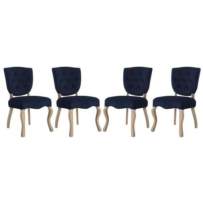 Array Collection EEI-3382-MID Dining Side Chairs with Dense Foam Padding  Button Tufted Seat Back  Non-Marking Foot Caps  Weathered Wood Saber Legs