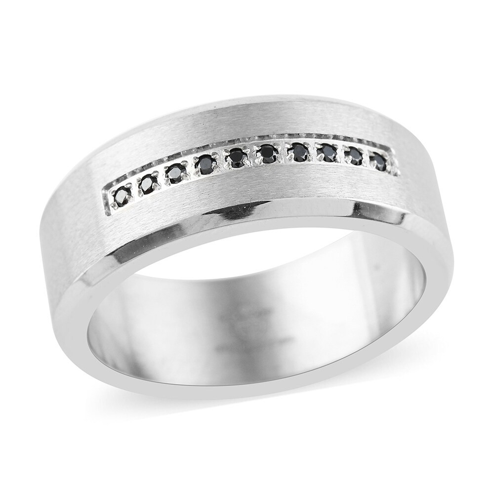 Stainless Steel Black Cubic Zirconia Ring Mens (Ring 13)