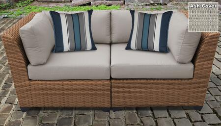 Laguna Collection LAGUNA-02a-ASH 2-Piece Patio Wicker Loveseat with 2x Corner Chairs - Wheat and Ash