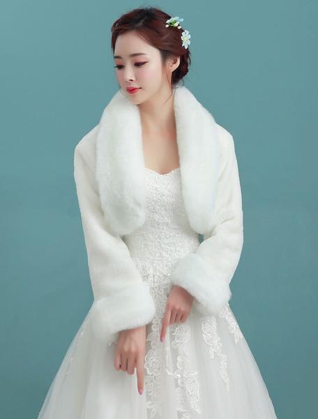 Milanoo Wedding Bolero Jacket Ivory Collar Long Sleeve Faux Fur Bridal Winter Shawl