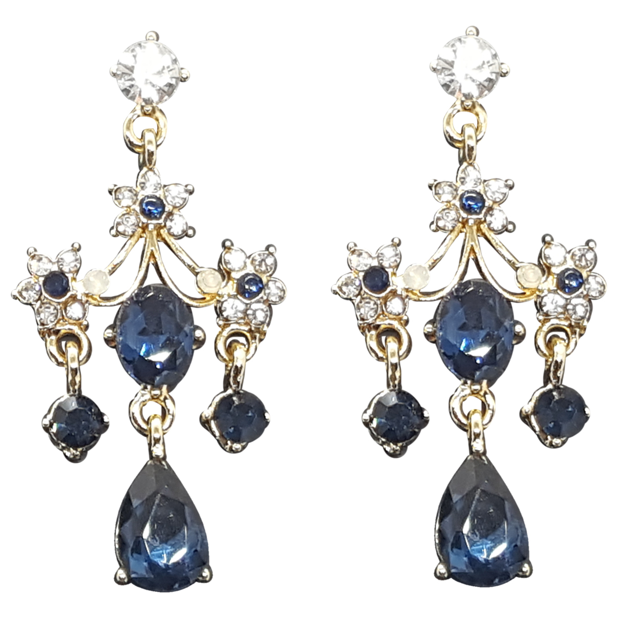 Non Signé / Unsigned Art Déco Gold Metal Earrings for Women N