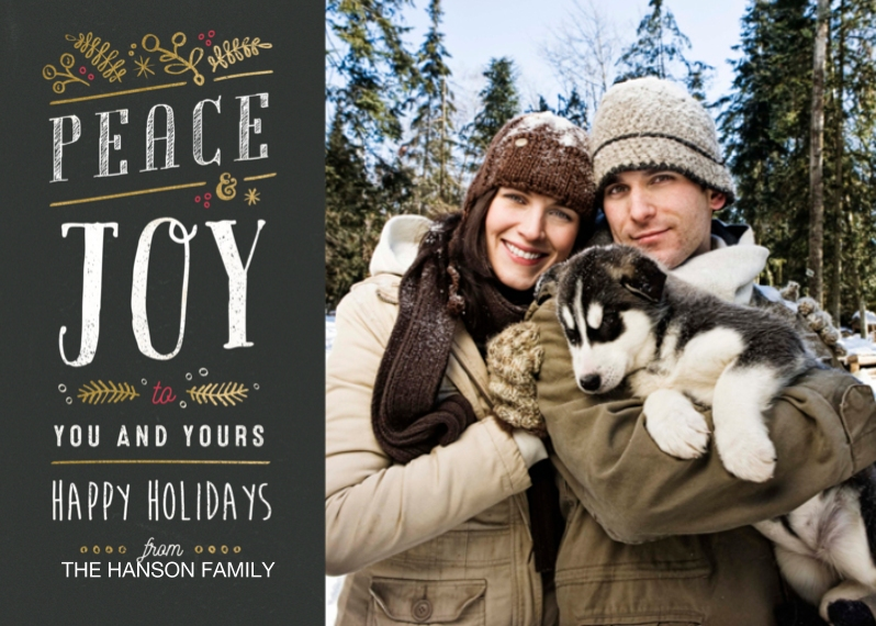 Holiday Photo Cards 5x7 Cards, Premium Cardstock 120lb with Rounded Corners, Card & Stationery -Peace & Joy Gold Foliage