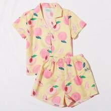 Toddler Girls Fruits Print PJ Set