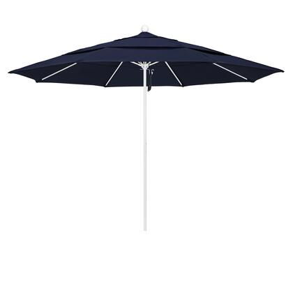 ALTO118170-SA39-DWV 11' Venture Series Commercial Patio Umbrella With Matted White Aluminum Pole Fiberglass Ribs Pulley Lift With Pacifica Navy