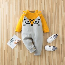 Baby Boy Cartoon Graphic Spliced Jumpsuit