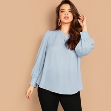 Plus Cut Out Front Buttoned Cuff Top