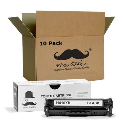 Compatible HP 305X CE410X Black Toner Cartridge High Yield - Moustache@ - 10/Pack