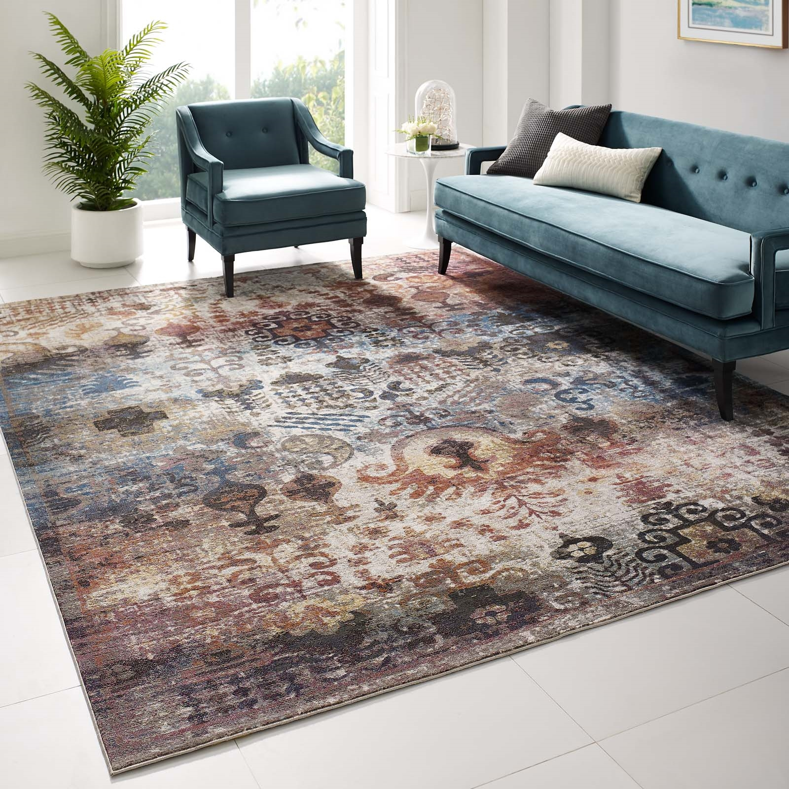 Success Tahira Transitional Distressed Vintage Floral Moroccan Trellis 8x10 Area Rug in Multicolored