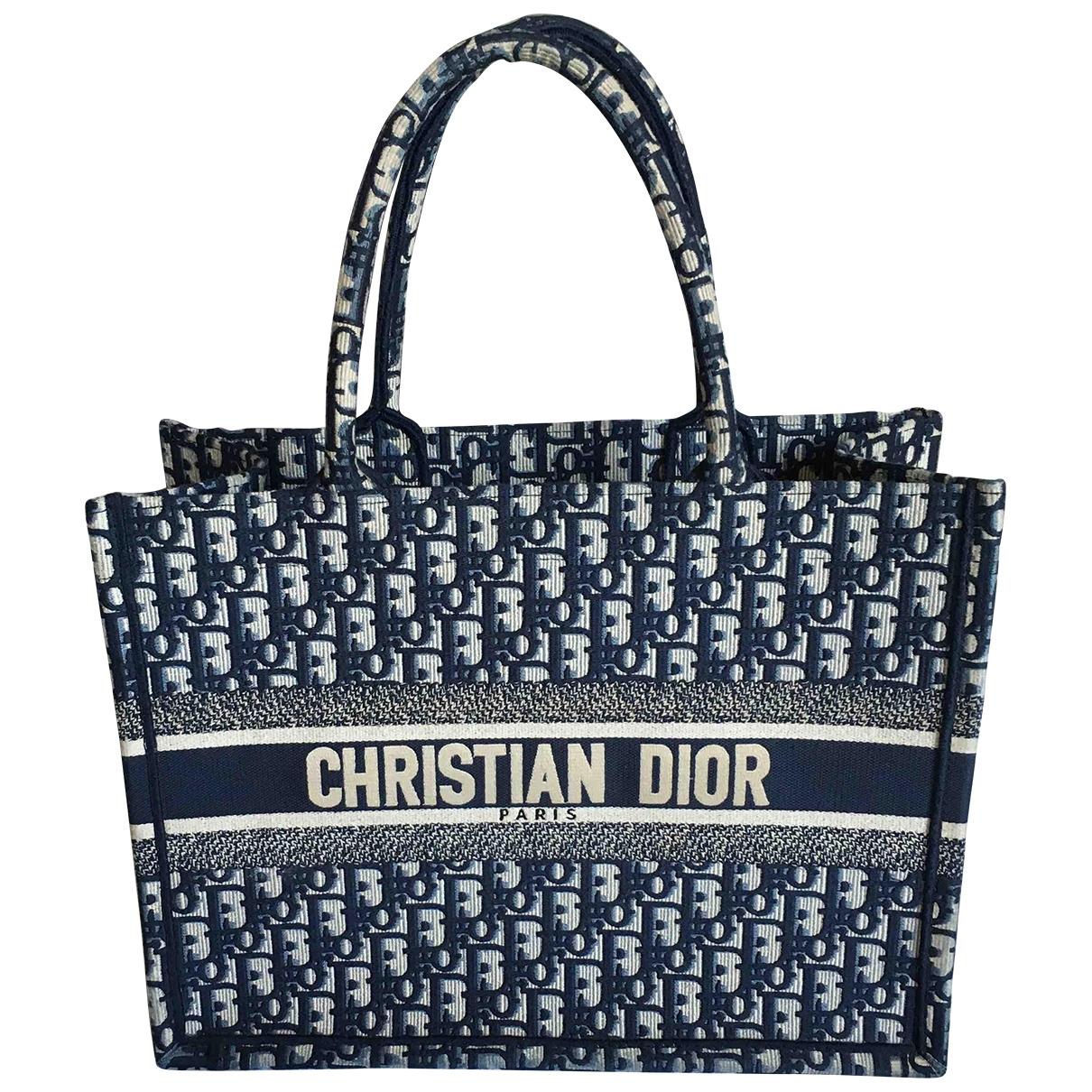 Dior Book Tote Handtasche in  Blau Leinen