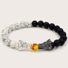 1 Stueck Maenner Armband mit Drache Dekor, Stein und Perlen