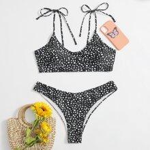 Bikini Badeanzug mit Dalmatiner Muster und Band auf Schulter