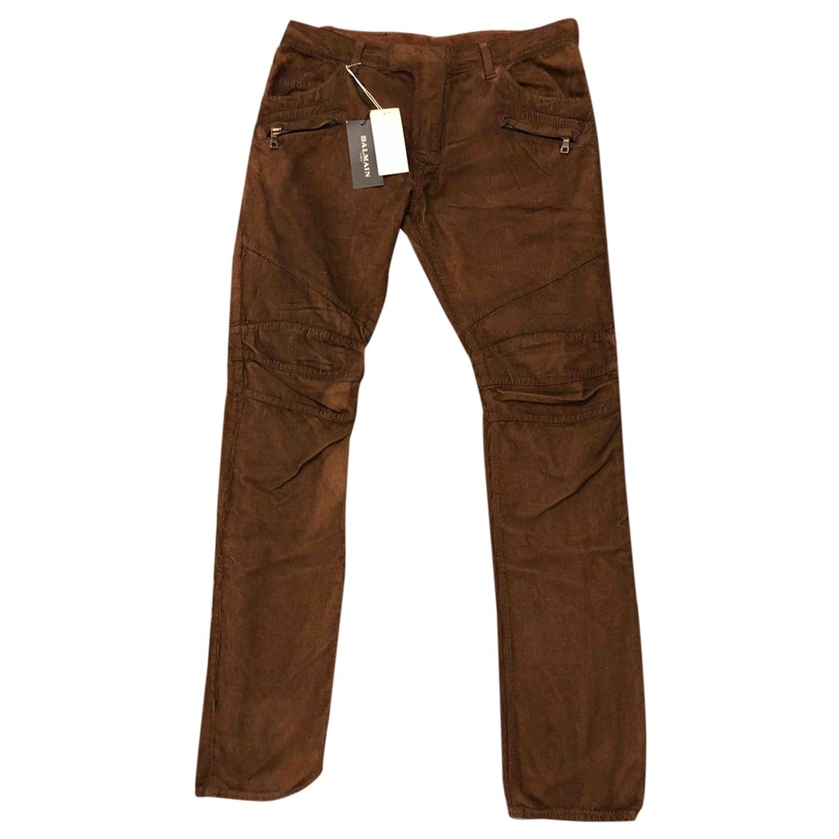 Balmain \N Brown Cotton Trousers for Men 48 IT