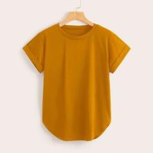 Camiseta bajo curvo de puño de doblez