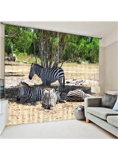 3D Zebras under the Green Tree Printed Polyester 2 Pieces Decorative and Shading Curtain