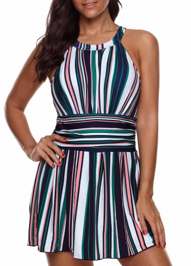 Women'S Multi Color Plus Size Striped Swimdress Bathing Suit Cutout Back Two Piece Padded Wire Free Swimsuit By Rosewe - 1X