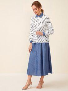 Contrast Collar Polka Dot Blouse & Button Front Skirt Set