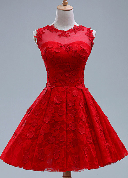 Milanoo Red Applique Lace Short Bridesmaid Dress for Woman