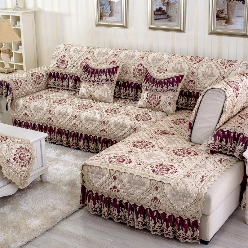 Stunning European Style Flower Print Cushion Slip Resistant Washable Sofa Cover