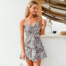 Cami Kleid mit Kordelzug, Knoten, Raffungsaum und Leopard Muster