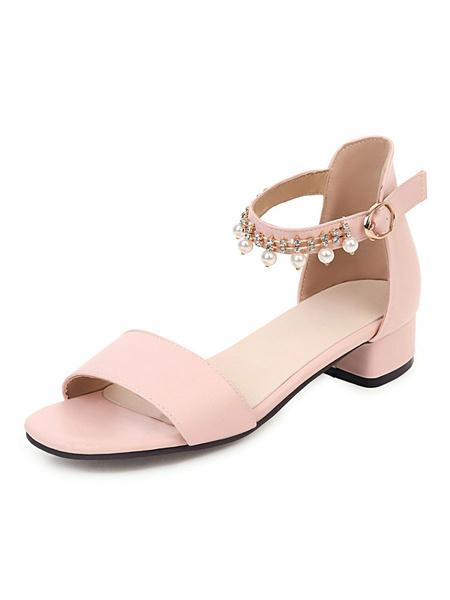 Milanoo Women Sandals Puppy Heel Pearls Chic Sandals Slip-On Peep Toe Plus Size Ankle Strap Sandals