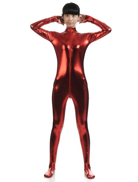 Milanoo Disfraz Halloween Cosplay metalico brillante rojo oscuro Zentai traje para las mujeres Halloween