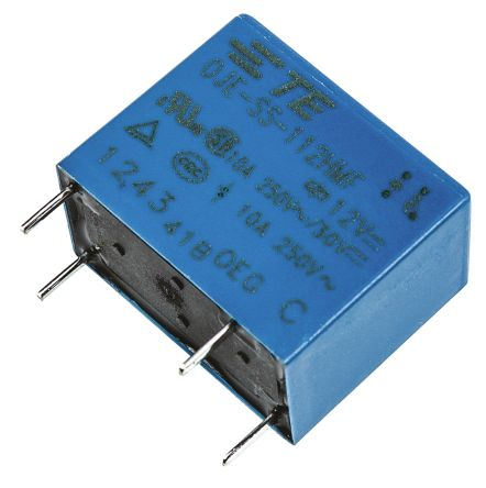 TE Connectivity , 12V dc Coil Non-Latching Relay SPNO, 10A Switching Current PCB Mount Single Pole (5)