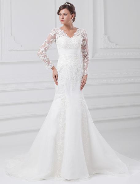 Milanoo White Wedding Dress Mermaid Lace Zipper Applique Wedding Gown
