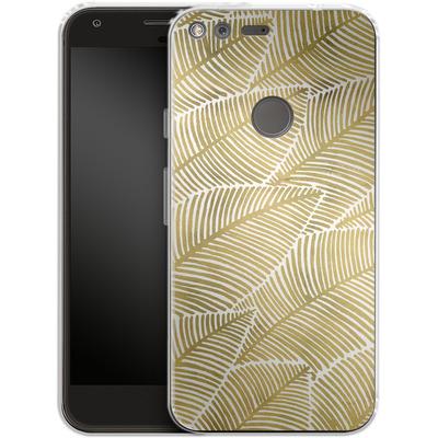 Google Pixel XL Silikon Handyhuelle - Tropical Leaves Gold von Cat Coquillette