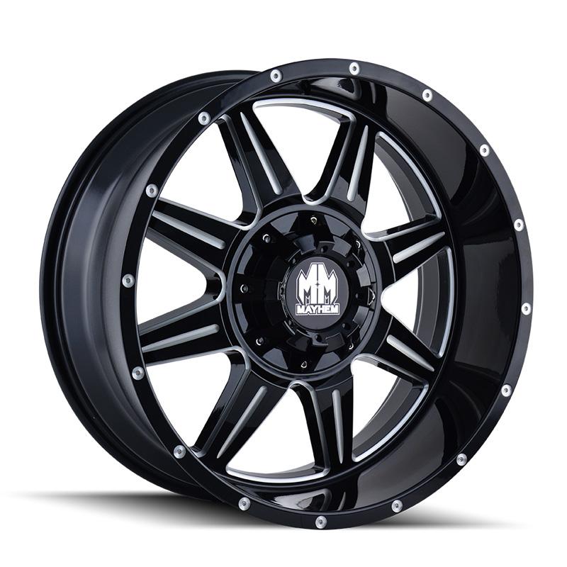 Mayhem Monstir 8100 Gloss Black | Milled Spokes 18x9 5-150 | 5x139.7 0mm 110mm Wheel