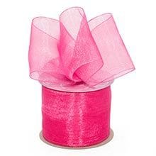 Hot Pink Shimmer Sheer Organza Ribbon - 7/8 X 100 Yards - by Paper Mart