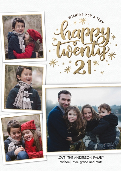 New Year's Photo Cards 5x7 Cards, Premium Cardstock 120lb, Card & Stationery -New Year Happy 2021 Stars by Tumbalina