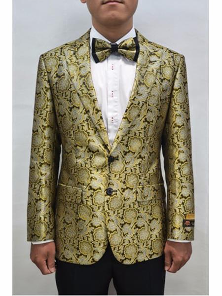 Alberto Nardoni Mens Gold & Black Blazer Sport Coat Matching Bowti