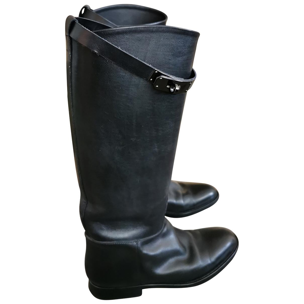Hermes - Bottes Jumping pour femme en cuir - noir