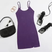 Split Hem Rib-knit Bodycon Dress
