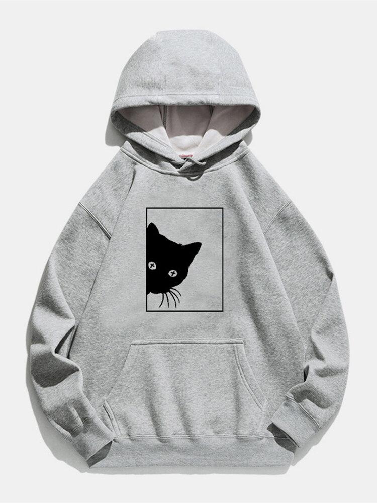 Cartoon Cat Printed Long Sleeve Drawstring Hoodie For Women