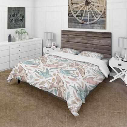 BED18739-T Designart 'Pattern With Swallow Birds & Flowers' Country Duvet Cover