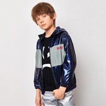 Jacke mit Buchstaben Grafik, Farbblock, Reissverschlussleiste und Kapuze