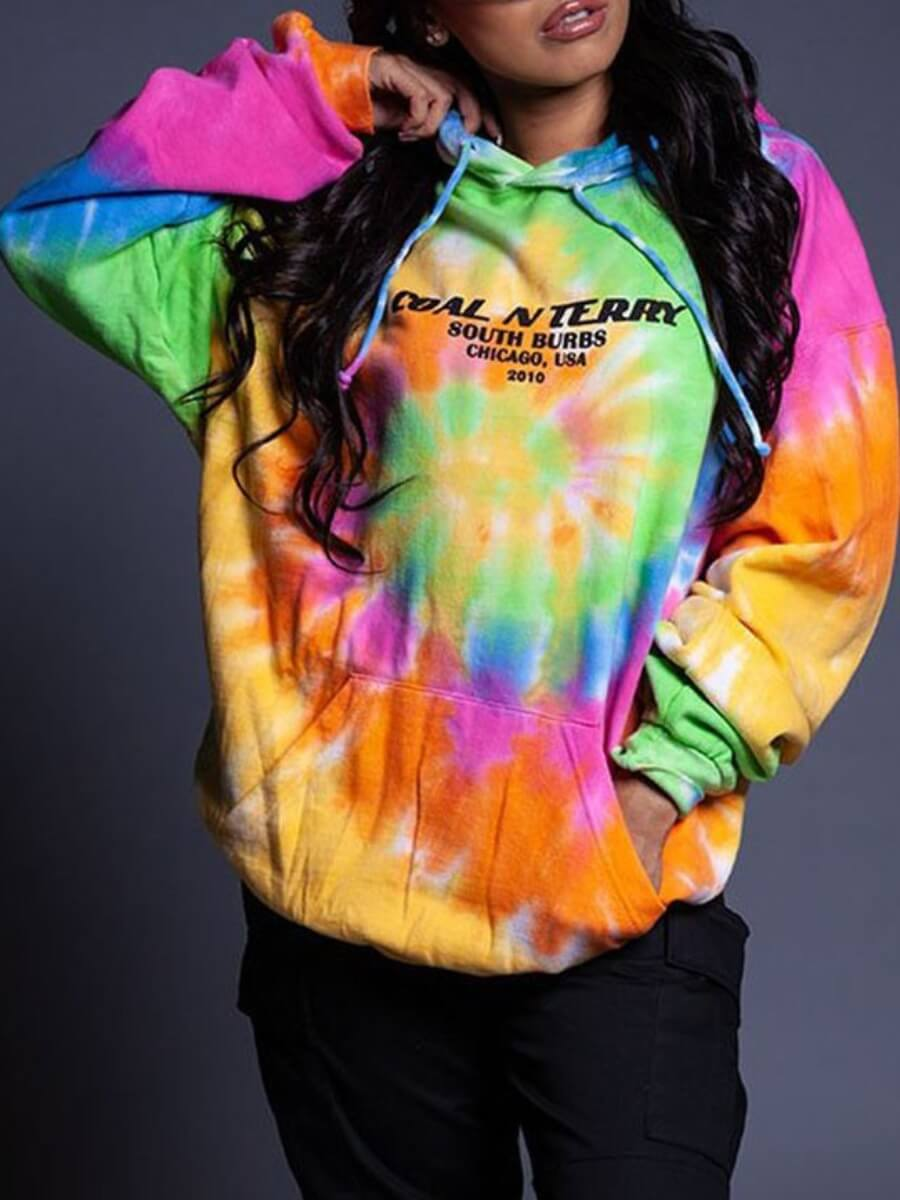 LW Lovely Casual Letter Print Tie-dye Multicolor Hoodie
