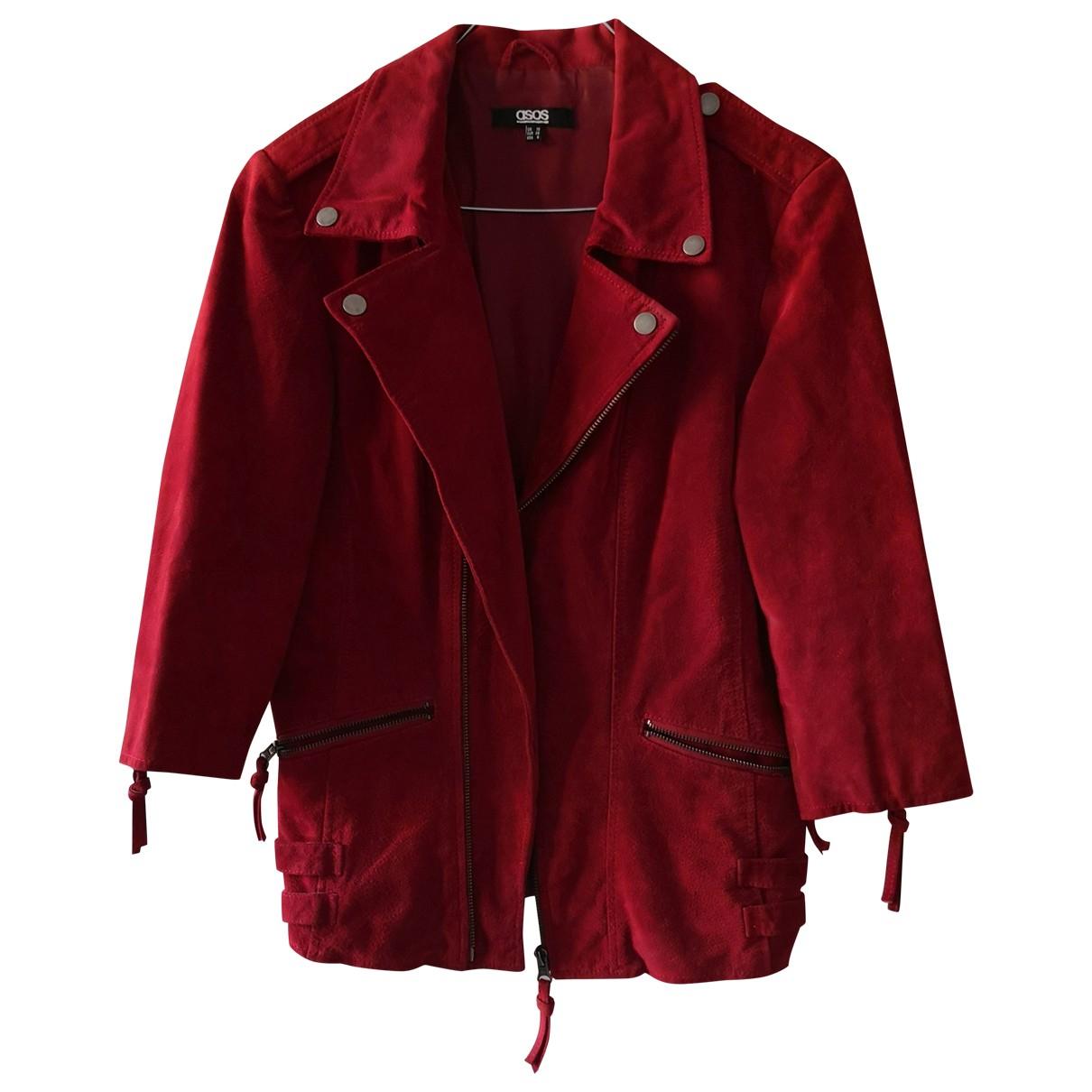 Asos - Veste   pour femme en suede - rouge
